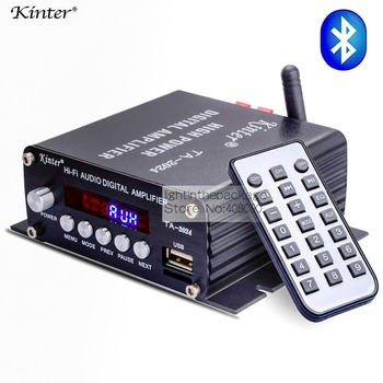 Kinter TA-2024 Amplificator Audio Speaker Auto Bluetooth de Clasa-D Amplificator Digital 20W Player+Telecomanda +3A Alimentare
