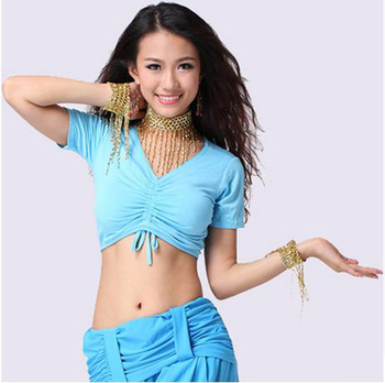 New sosire bumbac belly dance top femei V-neck mâneci scurte belly dance topuri sexy top 11colors