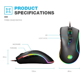 Original FMOUSE F300 E-Sport Versiune Programabile Mouse 4000 DPI Wired Optical Gaming Mouse Gamer Pentru Pro Gamer