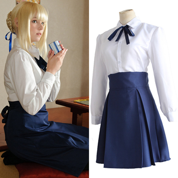 Saber Costum Cosplay Fate Stay Night Costum Top Si Fusta Anime-Ul Japonez De Halloween Alb Și Albastru Costum